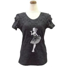 レース地デコレーションTシャツ(ブラック)Type5( カットソー レディース 華やか 夏 オフィス パール 丸首 きれいめ Tシャツ ビジュー 可愛い リボン )