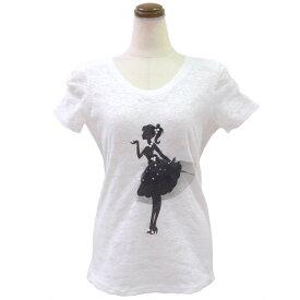 レース地デコレーションTシャツ(ホワイト)Type5( カットソー レディース 華やか 夏 オフィス パール 丸首 きれいめ Tシャツ ビジュー 可愛い リボン )