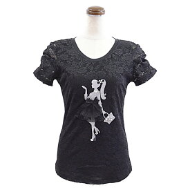 レース地デコレーションTシャツ(ブラック)( カットソー レディース 華やか 夏 オフィス パール 丸首 きれいめ Tシャツ ビジュー 可愛い リボン )