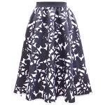 花柄ジャカードタックフレアスカート(ブラック)