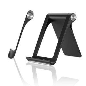 スマホスタンド Lululeague タブレットスタンド 携帯電話ホルダー スマホ 用スタンド 360角度調整可能 折りたたみ式 マルチアングル ipad スタンド ポータブルスタンド ブラック