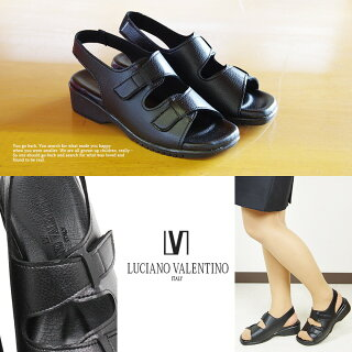 日本製LUCIANOVALENTINOITALYコンフォートサンダルレディース歩きやすいストラップ黒オフィスサンダル疲れない美脚かわいいサンダルレディースヒール人気ナースサンダル黒美脚疲れにくいナースシューズ109-19710