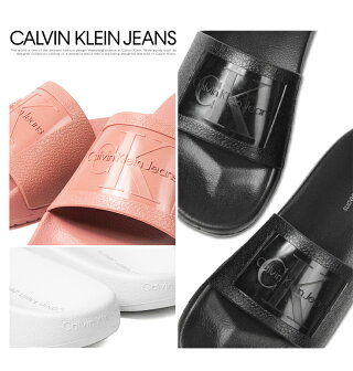 【送料無料】CalvinKleinJeansカルバンクライン軽量シャワーサンダルレディースブランドスポーツサンダルフラットサンダルスライドサンダルスリッパぺたんこ歩きやすい黒ブラックおしゃれCHRISTIEJELLY34R8837