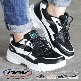 【送料無料】NEVSURF軽量ダッドスニーカーレディース厚底カジュアルシューズ通気性歩きやすいダッドシューズローカットスニーカージュニア女の子履きやすい通学軽い黒ブラック白ホワイトウォーキングシューズレースアップ靴nev-419