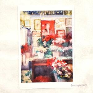 「彩りのパリ時間」 Yumi Kohnoura作 オリジナル・ポストカード 絵はがき 葉書 絵画 人物画 風景画 フランス パリ お花屋さん 【ネコポス対応】