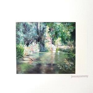 「せせらぎに包まれて」 Yumi Kohnoura作 オリジナル・ポストカード 絵はがき 葉書 絵画 イギリス イングランド 水辺 川 花 森 風景 風景画 【ネコポス対応】