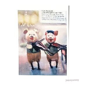 「brothers 2」 Yumi Kohnoura作 オリジナル・ポストカード 絵はがき 葉書 絵画 ブタ バイオリン シャンデリア 子豚【ネコポス対応】