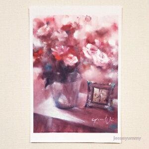 「約束の朝」 Yumi Kohnoura作 オリジナル・ポストカード 絵はがき 葉書 絵画 薔薇 花 静物画 バラ 赤 ピンク【ネコポス対応】