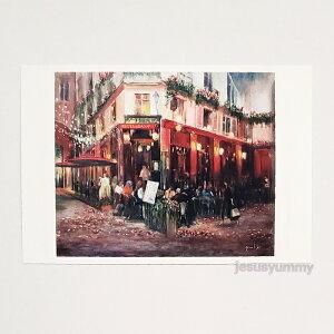 「街角のレストラン」 Yumi Kohnoura作 オリジナル・ポストカード 絵はがき 葉書 絵画 フランス パリ レストラン カフェ 風景【ネコポス対応】