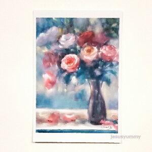 「夢の狭間で…」 Yumi Kohnoura作 オリジナル・ポストカード 絵はがき 葉書 絵画 薔薇 バラ 花 静物画 【ネコポス対応】