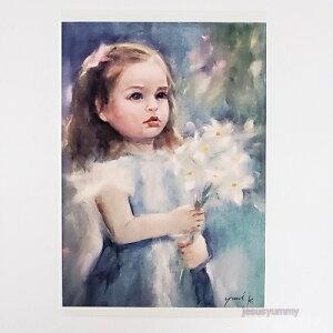 「To Mom」 Yumi Kohnoura作 オリジナル・ポストカード 絵はがき 葉書 絵画 人物画 少女 花 【ネコポス対応】