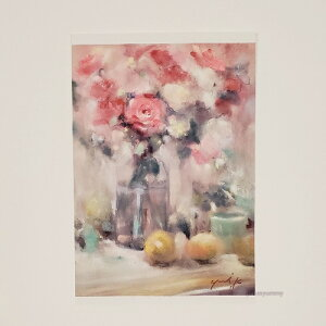 「Believe in myself」 Yumi Kohnoura作 オリジナル・ポストカード 絵はがき 葉書 絵画 花 薔薇 フルーツ 静物画 【ネコポス対応】