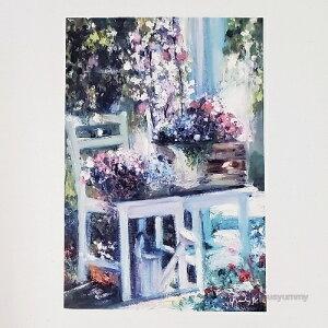 「La Campanula」 Yumi Kohnoura作 オリジナル・ポストカード 絵はがき 油彩バージョン 枠なし 葉書 絵画 カンパニュラ フランス 庭 風景【ネコポス対応】