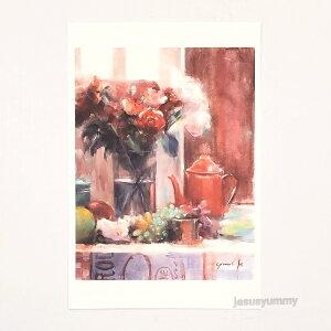 「Oriental Table」 Yumi Kohnoura作 オリジナル・ポストカード 絵はがき 葉書 絵画 花 フルーツ 薔薇 バラ 静物画 【ネコポス対応】