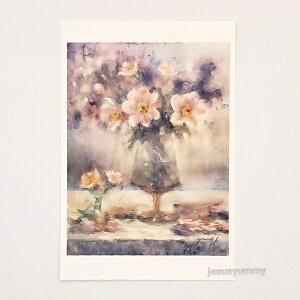 「Life's a gift !!」 Yumi Kohnoura作 オリジナル・ポストカード 絵はがき 葉書 絵画 花 芍薬 ジャーマンアイリス 静物画 【ネコポス対応】
