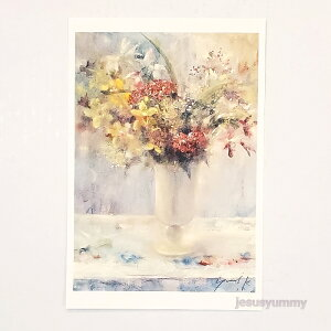 「Noble flower」 Yumi Kohnoura作 オリジナル・ポストカード 絵はがき 葉書 絵画 花 紫蘭 シモツケ 静物画 【ネコポス対応】