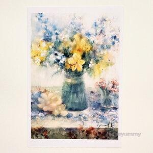 「Small Gift」 Yumi Kohnoura作 オリジナル・ポストカード 絵はがき 葉書 絵画 花 アルストロメリア ナデシコ デルフィニウム フルーツ 静物画 【ネコポス対応】