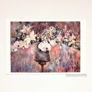 「Zephyr's Gift」 Yumi Kohnoura作 オリジナル・ポストカード 絵はがき 葉書 絵画 花 胡蝶蘭 フランネルフラワー 静物画 【ネコポス対応】
