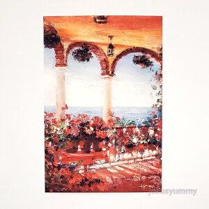 「Levanter」 Yumi Kohnoura作 オリジナル・ポストカード 枠なし 絵はがき 葉書 絵画 花 テラス 風景画 スペイン アンダルシア ミハス 地中海 【ネコポス対応】