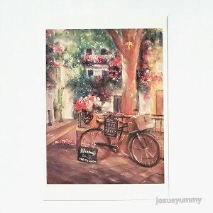 「プロヴァンスのお花屋さん」 Yumi Kohnoura作 オリジナル・ポストカード 絵はがき 葉書 絵画 バラ 南仏 フランス プロヴァンス 風景 花 【ネコポス対応】