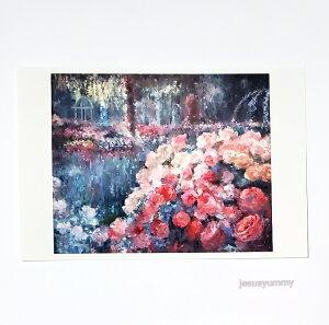 「夢の通り道」 Yumi Kohnoura作 オリジナル・ポストカード 絵はがき 葉書 絵画 薔薇 バラ 花 ばら園 バラ園 風景画 【ネコポス対応】