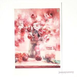 「Princess Sissi」 Yumi Kohnoura作 オリジナル・ポストカード 絵はがき 葉書 絵画 薔薇 花 静物画 バラ ピンク 赤 【ネコポス対応】