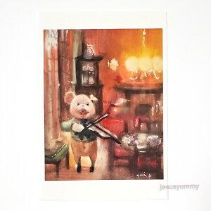 「lesson」 Yumi Kohnoura作 オリジナル・ポストカード 絵はがき 葉書 絵画 ブタ バイオリン 子豚【ネコポス対応】