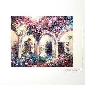 「Serenade」 Yumi Kohnoura作 オリジナル・ポストカード 絵はがき 葉書 絵画 スペイン 花 風景 風景画 パティオ 【ネコポス対応】
