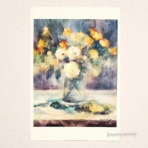 「Shine more!!!」 Yumi Kohnoura作 オリジナル・ポストカード 絵はがき 葉書 絵画 花 薔薇 バラ トルコキキョウ 静物画 【ネコポス対応】