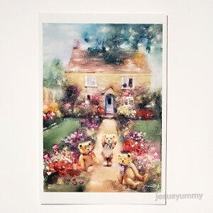 「おしゃべりなクマ達」 Yumi Kohnoura作 オリジナル・ポストカード 絵はがき 葉書 絵画 クマ テディベア イギリス イングランド 花 風景 【ネコポス対応】