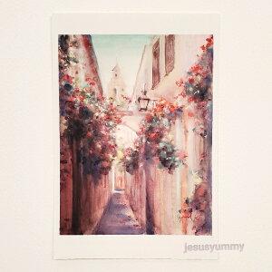 「鐘の鳴る小路」 Yumi Kohnoura作 オリジナル・ポストカード 絵はがき 葉書 絵画 スペイン 花 風景 風景画 教会 【ネコポス対応】