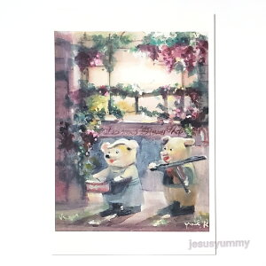 「marching」 Yumi Kohnoura作 オリジナル・ポストカード 絵はがき 葉書 絵画 ブタ 太鼓 ドラム バイオリン 子豚【ネコポス対応】