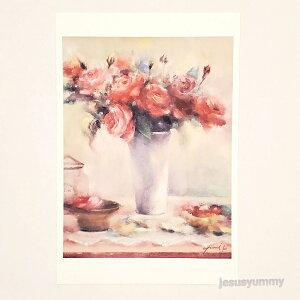 「In the mood...」 Yumi Kohnoura作 オリジナル・ポストカード 絵はがき 葉書 絵画 薔薇 バラ 花 静物画 【ネコポス対応】