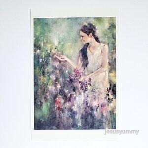 「Herb Garden」 Yumi Kohnoura作 オリジナル・ポストカード 絵はがき 葉書 絵画 人物画 風景画 イギリス イングランド 自然 【ネコポス対応】
