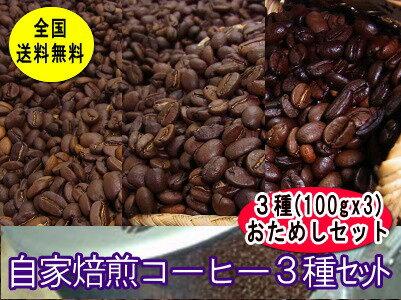 自家焙煎おためしコーヒーセット【100g×3種類】スペシャルMIXちょっと濃い味MIX、コロンビア コーヒー豆:【RCP】【HLS_DU】