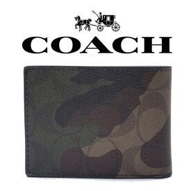 fa05afdbe8cc 【送料無料】F11958 MGQ COACH コーチ 二つ折り 財布 カードケース カモフラ 迷彩 メンズ