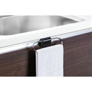 タオル掛け タオルハンガー 簡単取り付けタオル掛け 流し台扉タオル掛け 洗面台扉タオル掛け 後付けタオルハンガー タオルハンガー45 ブラック JQ51389B