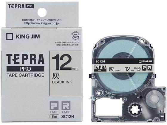 キング/PRO用テープ パステル 12mm 灰/黒文字/SC12H