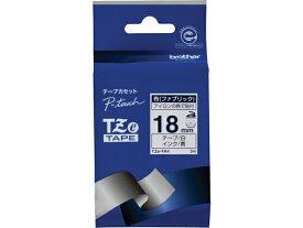 ブラザー/ラベルプリンター用 布テープ 18mm 白/青文字/TZe-FA4