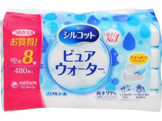 ユニチャーム/シルコット ウェットティッシュ ピュアウォーター 詰替用 60枚×8