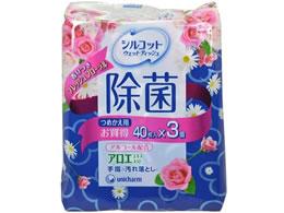 ユニチャーム/シルコット除菌ウェットティッシュ アロエ 詰替 40枚×3 フロ-ラル