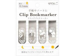 【お取り寄せ】ミドリ/ブックマーカー クリップ ネコと月柄×5冊/43372006