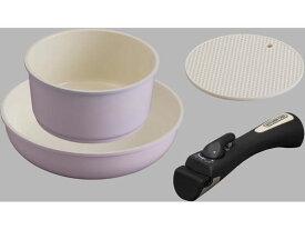 アイリスオーヤマ/セラミックカラーパン 3点セット シリコンなべ敷き付 ピンク