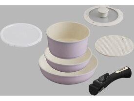 アイリスオーヤマ/セラミックカラーパン 6点セット シリコンなべ敷き付 ピンク