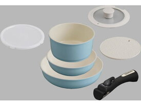 アイリスオーヤマ/セラミックカラーパン 6点セット シリコンなべ敷き付 ブルー