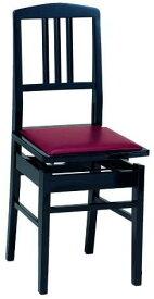 【Made In Japan】甲南 No.5 BK 背もたれ付き 高低自在 ピアノ椅子 エンジ座面 日本製