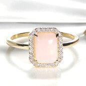☆K18YG角ピンクオパールダイヤリング
