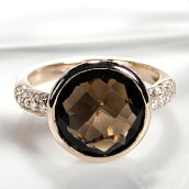 K18PGスモーキークオーツダイヤモンドリング