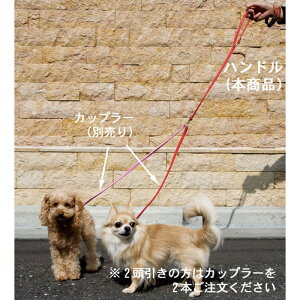 【BIRDIE(バーディ)小型犬用多頭引きリード】まるめ革セパレートリード(ハンドル)