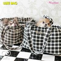 LUXEBAG♥WOOFLINKウーフリンクショルダーバッグキャリアゴールドロゴプレートペット用品ペットグッズ犬用品犬用キャリーバッグ小型犬中型犬